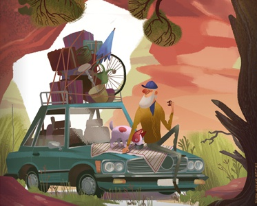 Off Again2 dog car tree illustration childrens