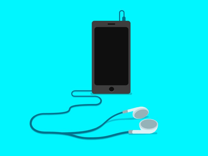 Phone And Earphones music smartphone idevice flat blue electric headphones earphones phone