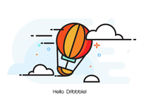 Hot air balloon icon design.