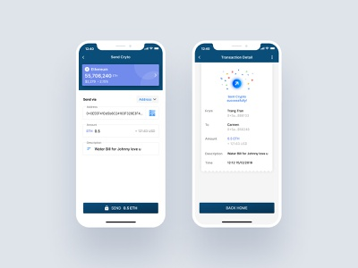 Send Crypto on Sappchat mobile design transfer crypto wallet
