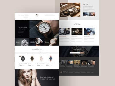 Luxury Watch Showroom Website elegant female male luxury fashion website watch