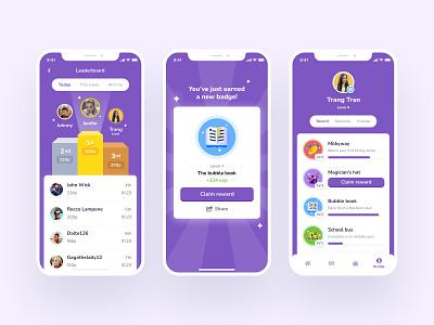 Gamification education app cute claim reward purple application badge friends ranking leaderboard ui education