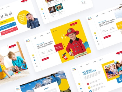 ReadyKids pitching schedule heading colorful red yellow landing page website children kids