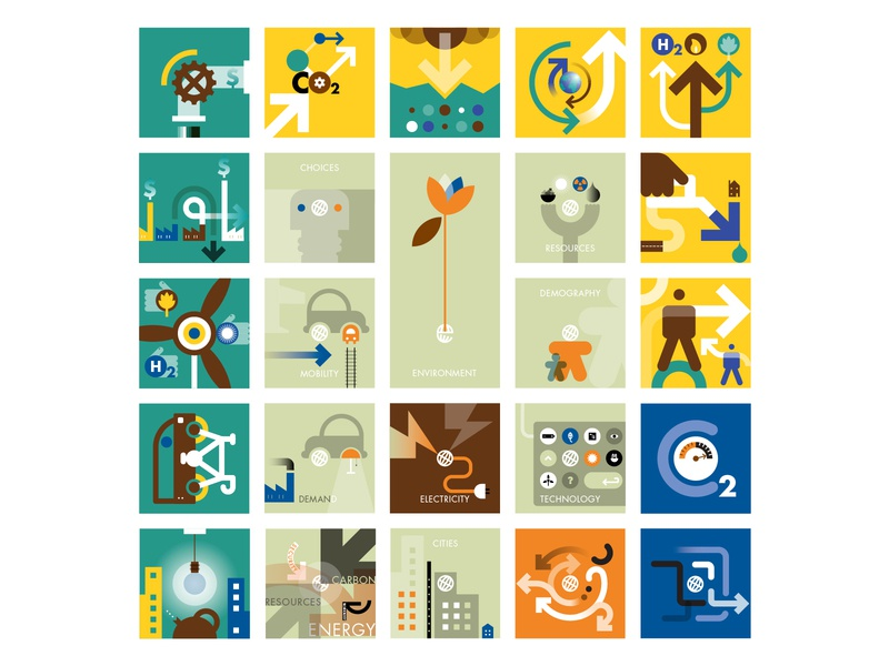 Shell Scenarios icons. Generation 3 scenarios iconography branding infographics illustration