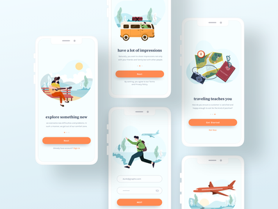 Pixnix - Travel illustration travel travel app mobile screen app illustrations vector flat illustration uiux mobile app onboarding design ui