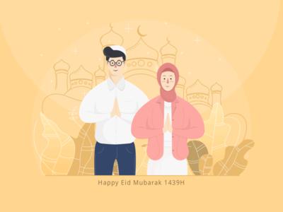 Happy Eid Mubarak 1439H illustrations mubarak eid greetings