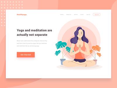Exploration Yoga Website flat ui page landing homepage vector website illustration design