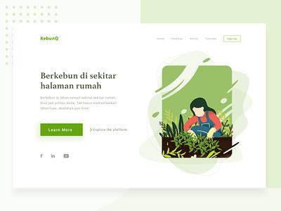 Gardening Website web ux vector website flat illustrations typography ui illustration homepage page landing design