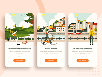 Onboarding Screen for Air Quality App illustrations ux typography vector flat ui design mobile design mobile app illustration ui  ux uidesign onboarding illustration onboarding ui onboard