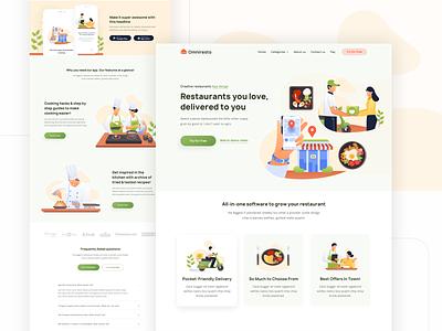 Modern Illustration for Restaurant and Food website design food foodie restaurant webdesign illustrations page landing homepage website vector flat design ui illustration
