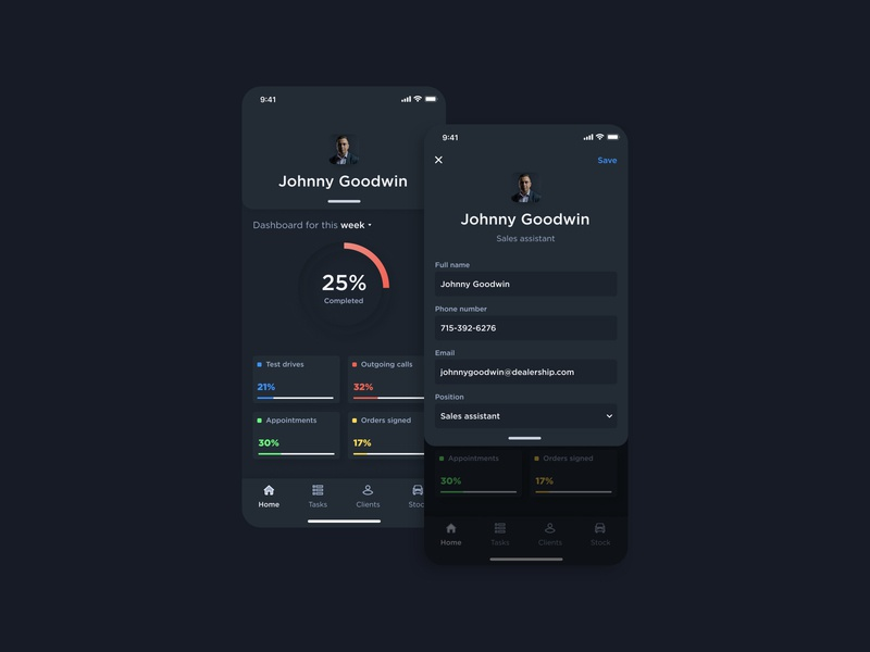 Sales assistant management app (iOS) application design application visual design ui ux light mode dark mode sales assistant ios