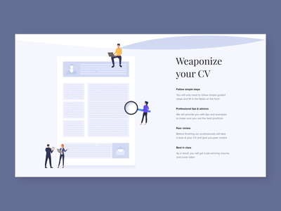 Hover interaction for Resume builder landing page rigging app animation interaction animation webdesign design ux-ui minimalist