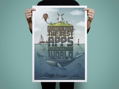 Limited Edition Print print poster realmac design apps ocean whale windmill balloon island boat fish