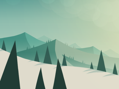 iOS Landscape Concept #1 landscape concept style tone ios painting thumbnail pine trees snow mountains hills
