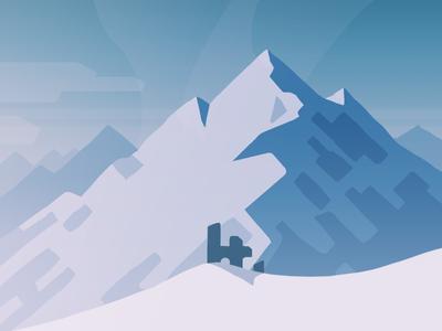 iOS Landscape Concept #2 mountain snow ruins cold peaks thumbnail painting ios tone style concept landscape