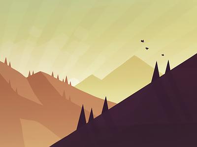 iOS Landscape Concept #3 tone ios painting thumbnail peaks cold birds mountain landscape concept style
