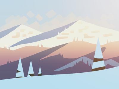 iOS Landscape Concept #4 landscape concept style tone ios painting thumbnail peaks cold snow mountain sunrise