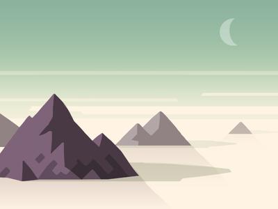 iOS Landscape Concept #5 moon mountain peaks thumbnail painting ios tone style concept landscape