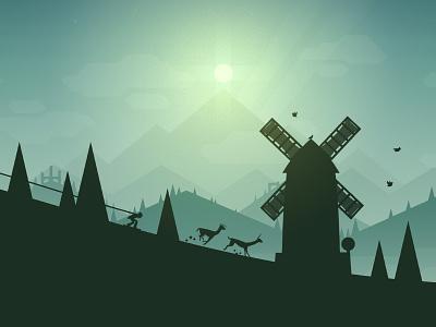 Introducing Alto's Adventure! ios game snowboard mountain windmill birds llamas trees sun