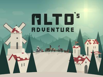 Alto's Adventure - Title Scene llamas windmill pine mountains indie runner game ios snowboarding alto