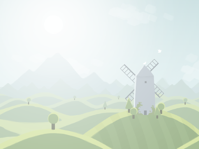 Hills illustration landscape surreal windmill birds mountains sun haze trees grass sky