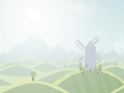 Hills illustration landscape surreal windmill birds mountains sun haze trees grass sky