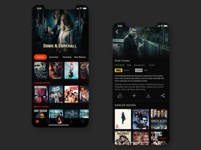 Online Movie App starring watch online clean movie film ux user experience trend uiux ui mobile app iphone ios design ios app ios interaction