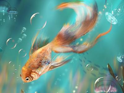 In to the Sea wacom 2d digital art digital painting fish photoshop