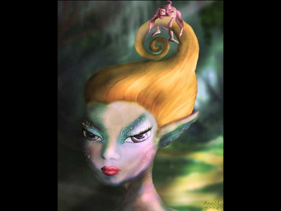 Elf in woods illustration fantasy fairy digital painting