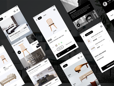 Material home app mall colorless black and white neat minimalist simple app home furniture