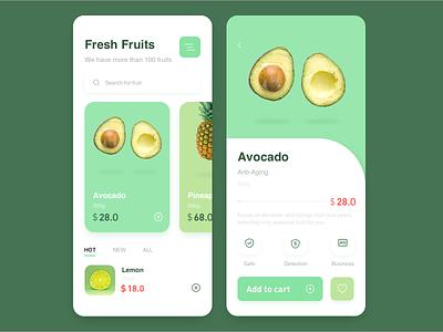 Food/fruits cart price green eat fruits food web gradient flat ux icon illustration app design ui