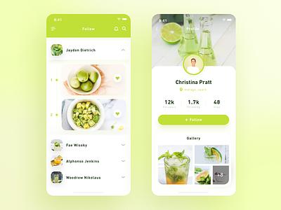 Food App / Profile follow profile food app food green gradient icon ux flat app design ui