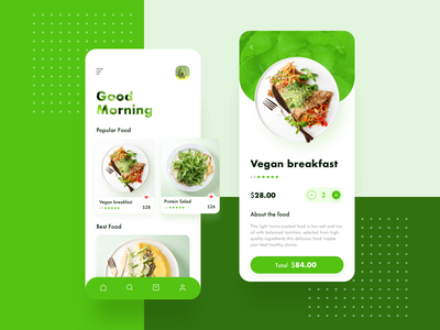 Food App / Main page add food vegetables card price order green icon flat ux app design ui