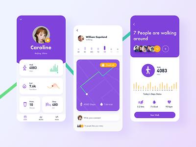 Fitness and Diet App orange purple gradient vector flat illustration icon app ux design ui