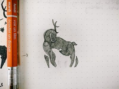 Doe & Deer Brand Logo Concept Sketch idea concept sketches drawing vintage design vintage logo negative space logo concept logomark logos sketchbook sketch vintage design minimal branding logo
