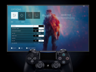 Daily UI 007 Settings - Battlefield V Game Settings Design