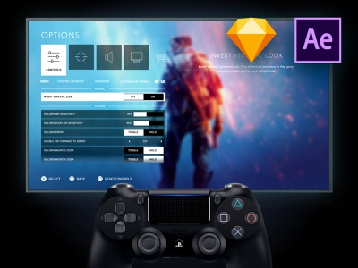 Playstation/Game UX UI Prototyping Mockup gaming game ux game ui sketch template after effects template aftereffects dualshock4 prototyping mockup sketch battlefield playstation4 playstation experience design motion design animation uxui ui ux design