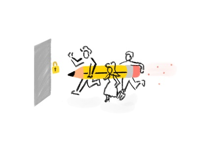 Productivity Breach! character abstract gouche brushes teamwork team work pencil productivity concept idea illustrations app mobile adobe photoshop sketch adobe sketch adobe illustration minimal design