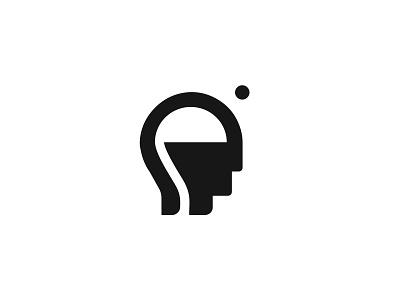 Design Thoughts Logomark mindful brand brand identity brand design logomark black and white thinking brainstorming brainstorm brain thoughts thought negative space logo negative space minimal icon branding logo vector design