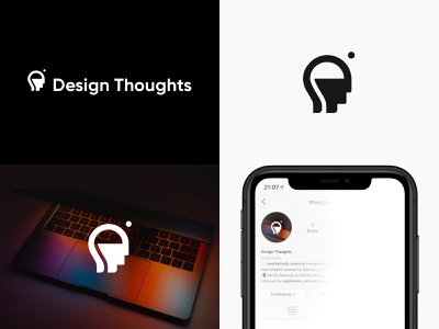 Design Thoughts Branding Project mindfulness thoughts thinking imagery negative space flat web typography logos logo design logomark social profile instagram iphone xr icon branding minimal vector logo design