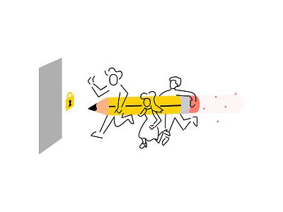 Productivity Breach! 2.0 teamwork teams ui ui illustration popup sketch drawing work pencil adobe adobe sketch figma splash screen app productivity illustration design illustration vector design