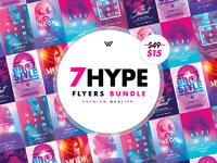 7 HYPE FEMININE Flyer Templates wg visualarts girls inspiration event minimal modern glossy neon purple pink feminine pack flyer bundle bundle psd flyers psd flyer inspiration flyer design flyers flyer