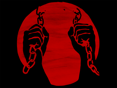 Chain Breaker icon fists circle dot slavery red freedom chains