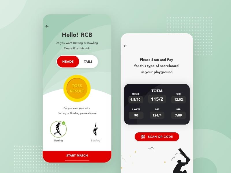 Scoreboard or Toss UI for Cricket App barcode code scan scorecard designs red coin flip toss scoreboard score product details app designer ui ux app ui design ux ui design ui