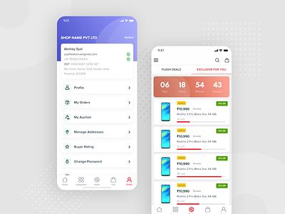 B2B Profile & Listing dealer counter b2c redesign ui design app ui ux app ui designer product offer vector profile ecommerce b2b shopping deal