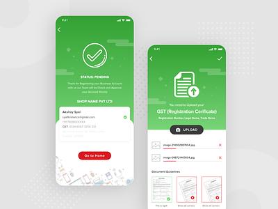 GST Registration Confirm document files uploading file upload success confirm green redesign ecommerce product designer app ui ui ux ux design ui ui design
