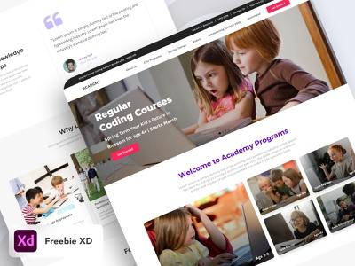 Academy Web Freebie UI freebie xd freebie kids coding coaching learning app website learning web design designer app ui ui ux design ux ui design ui