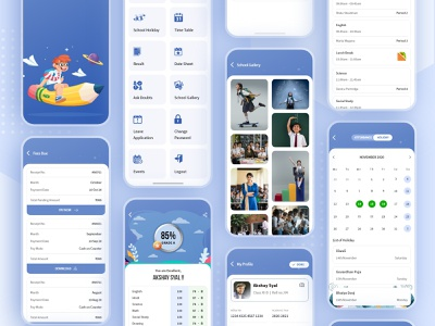 School ERP UI Kit - Freebie iphone screen video call online learning education erp software school erp product details product designer app ui ui ux design ux ui design ui