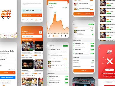 HungryBuff - Local Food Ordering App coupon online listing cart details success failed food hungry orange redesign designer app ui ui ux design ux ui design ui