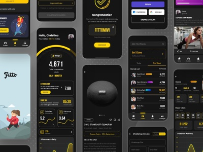 Fitto - Step Count App share earning designer steps yoga excercise daily sign in login coupon online market yellow dark foot track count step ui ui design